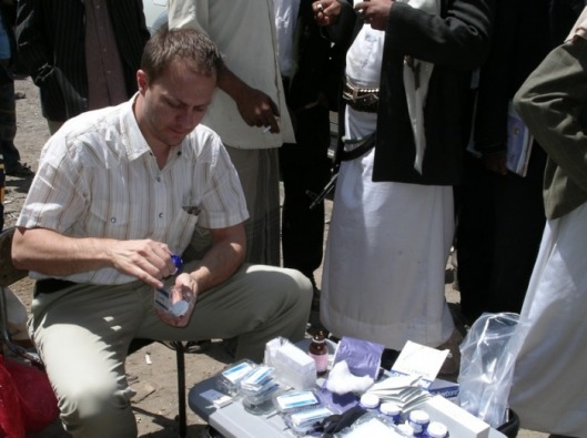 Collecting saliva samples in Yemen, Spring 2007